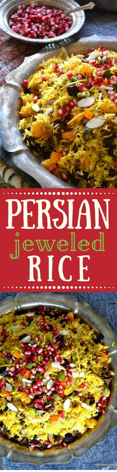Persian Jeweled Rice is a spectacular rice pilaf topped with colorful gem-like fruits and nuts ~ this popular wedding dish is a celebration in itself! ~ theviewfromgreatisland.com