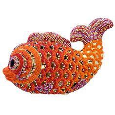 Butler and Wilson Orange Swarovski Crystal Skull Fish Clutch Bag NEW | eBay