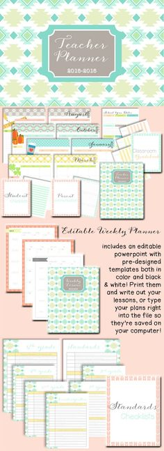 The new 2015-2016 Editable teacher planner is here! Everything you could need to keep you organized.