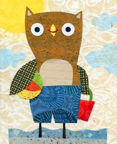 owl.  love the use of handwriting paper within the collage!