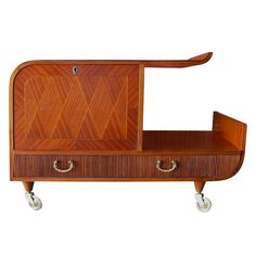 Swedish Art Moderne Parquetry Inlaid Bar Cart | From a unique collection of antique and modern bar carts at http://www.1stdibs.com/furniture/tables/bar-carts/