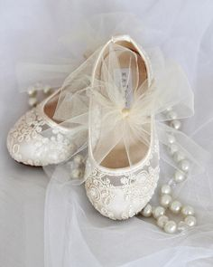 bc897cea00d Girls IVORY Crochet Lace Shoes - Maryjane Flats with tulle Bow - For flower  girls
