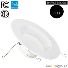 (1 Pack)- 5/6-inch Dimmable LED Downlight, 12W (100W Replacement), Baffle Design, 5000K (Day Light), Dimmable, ENERGY STAR, Retrofit LED Recessed Lighting Fixture, LED Trim, 1100 Lm, LED Ceiling Light