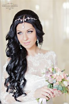 long black wavy wedding hairstyle with hairpiece