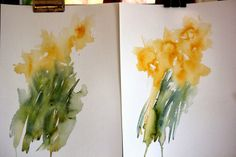 Daffodils being blown in the wind by the breeze. First Wash. by Jean Haines
