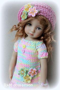 """R&M DOLLFASHION - CUTE LINE OOAK handknit set for Effner Little Darling 13"""" doll"""