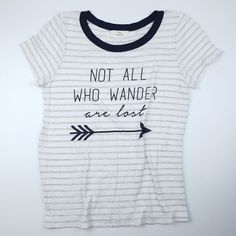 Not All Who Wander Are Lost Stripes Ringer Graphic Tee Women's Juniors Small #Unbranded #GraphicTee