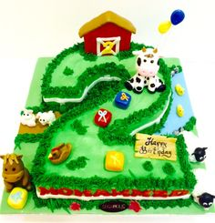 Sebastián 2 años Farm Birthday Cakes, Animal Birthday Cakes, 2nd Birthday Party Themes, Farm Animal Birthday, Second Birthday Ideas, Boy Birthday Parties, Barnyard Cake, Barnyard Party, Farm Party