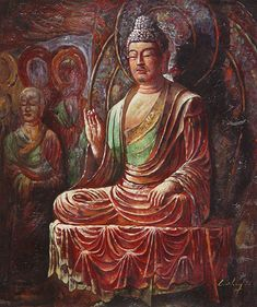 Oil Painting of Buddha by Wen Shen.