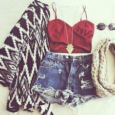 Printed cardigan, red halter crop top, high waisted shorts.