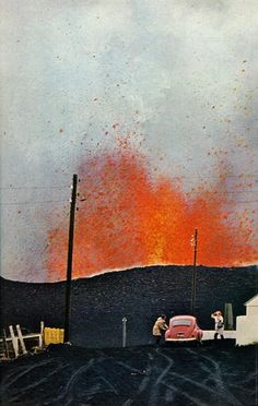 Eldfell erupting, Heimaey, Iceland, 1973  photo by Emory Kristof for National Geographic