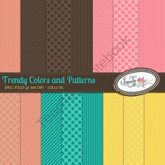 Trendy colors and patterns digtal papers from Lilmade Designs on TeachersNotebook.com (15 pages)  - Set of 15 digital paper packs in trendy colors.