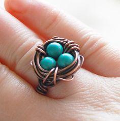 Птичье гнездо кольцо окисленный меди Howlite по Karismabykarajewelry