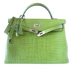 HERMES KELLY 40 Supple matte alligator PELOUSE bag