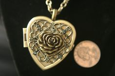Antiqued Bronze Heart Shaped Music Box Locket with Necklace - Choose your song on Etsy, $90.00