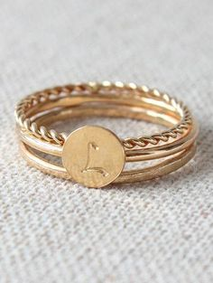Letra Ring Trio in Gold