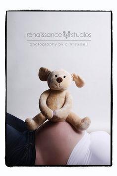 Awww. baby bump with stuffed animal