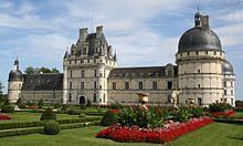 """Château de Valençay is a residence of the d'Estampes and Talleyrand-Périgord families in the commune of Valençay, the Indre département of France. Although geographically it is part of the province of Berry, its architecture invites comparison with the Renaissance châteaux of the Loire Valley, notably the Château de Chambord. The manor was praised as """"one of the most beautiful on earth"""" by George Sand, who also noted that """"no king has owned a more picturesque park""""."""