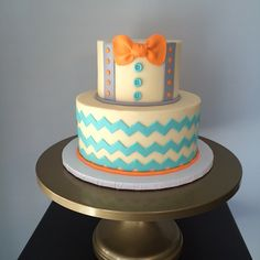 Bow tie & suspenders baby shower cake                                                                                                                                                                                 More