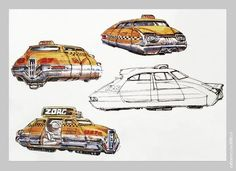 The Fifth Element (5th) (1997) production material Taxi Cab - Concept Art