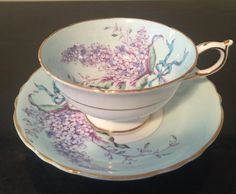 Vintage Paragon/tea cup/vintage cups and saucer/lilac pattern/scalloped cup/gilded cup/made in England by VintageSowles…