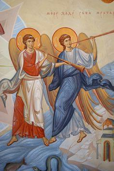 Трубящие ангелы Byzantine Icons, Byzantine Art, Holy Art, My Guardian Angel, Orthodox Icons, All Icon, Sacred Art, Religious Art, Sketches
