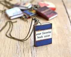 Book necklace with custom book cover for book lovers, personalised gift with book charm pendant.  This listing is for one piece custom made book necklace. Please, add a note to your order or message stating the title and the author of the book you want, also add a link to your favorite cover or attach a picture of good quality.  Mini book necklace from Polymer clay. Please be advised that the books cannot be opened.  Book size 1 3/4 x 1 1/4 (4x3,cm) Chain 30 (75cm)  more book jewelr...