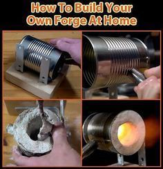 #BuildYourOwnAtHome Forge glass or metal in emergency/survival situations? Its cool to forge you own knives/tools from scratch? Want to impress your lady that you not only know how to forge metal; but know how to build your own forge from scratch? Making or shaping metal objects by heating it in fire and then beating and hammering is the true essence of what it means to be a man. Step-by-step video & image instructions => http://selfsustainablelife.com/how-to-build-your-own-forge-at-home.htm... Image Instructions, Forging Tools, Forging Knives, Forging Metal, Metal Welding, Gas Forge, Blacksmith Forge, Knife Making Forge, Knife Making Tools