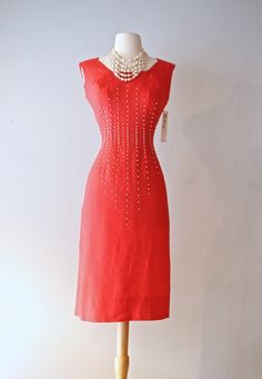 Sexy Vintage 1950s Watermelon Red Wiggle Dress ~ 50s Red Cocktail Dress With Rhinestone Studs and Pearls by xtabayvintage on Etsy