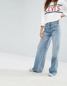 18d8b0549 NEW ladies LEVI'S ALTERED WIDE LEG Flare high waisted JEANS Women Size W32  uk 14 Slim