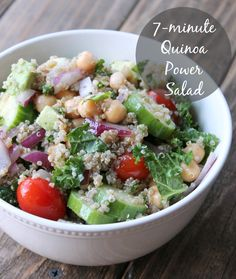 7-minute Quinoa Power Salad with kale, garbanzo beans, cherry tomatoes, cucumbers, red onion, avocado, walnuts and Balsamic vinegar dressing. 385 calories