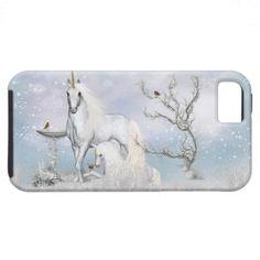iPhone 5 Case with Fantasy Unicorns in winter scene $46.95