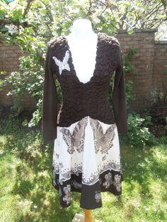 Upcycled Sweater Dress 'Mahogany Moth' UK size by StrangelyMagical