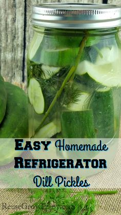 Want to try making your own dill pickles? This is one of the most simple recipes you will find. Check out my recipe for Easy Homemade Refrigerator Dill Pickles! http://reusegrowenjoy.com/easy-homemade-refrigerator-dill-pickles/
