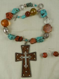 Western Cross Cowgirl Necklace Turquoise.  via Etsy. #SYLink