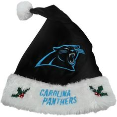 "NFL Santa Hat NFL Team: Carolina Panthers by Forever Collectibles. $19.94. 100% Polyester. Embroidered graphics. Officially licensed. Plush knit design. One size fits most. H10NF12CP NFL Team: Carolina Panthers Features: -Made of Cotton / Polyester.-Authentic NFL team league. Color/Finish: -Official name team color and logo. Dimensions: -Dimensions: 0.5"" H x 9"" W x 17"" D."