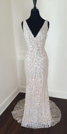 Pre-owned Fontana Embroidered Beaded Nude Wedding Dress