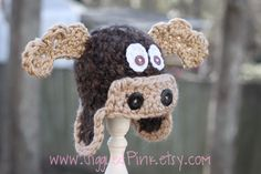 Baby Moose Hat - Crochet Baby Boy Hat - Photography Prop - Brown - Max the Moose - Size Newborn, 0-3 mos,  3-6 mos. $36.00, via Etsy.