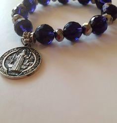 Pulcera De Cristales Con Medalla De San Benito Pandora Charms, Charmed, Jewellery, Ebay, Logo, Bracelets, Fabric, Fashion, Saints