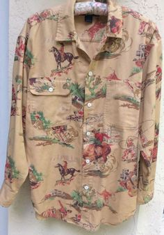 971e963c626 Vintage RALPH LAUREN Camel Western Horses Bull Rider Cowboy Long-Sleeve  Shirt   eBay Cowboys
