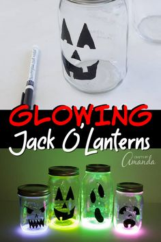 Create some spooky fun for your doorstep or window this Halloween with these glowing Jack O'Lantern luminaries! Halloween Night, Halloween Crafts, Halloween Party, Mason Jar Crafts, Mason Jars, Pumpkin Painting Party, Recycled Jars, Glow Sticks, Painted Pumpkins
