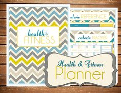 EDITABLE - Instant Download - Health & Fitness Planner Chevron Printable Planner Organizer  - (Organized Family Binder)