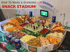 How To Make A Supreme Snack Stadium! - Ultimate DIY - Build a Snack Stadium. Healthy Superbowl Snacks, Game Day Snacks, Snacks Für Party, Game Day Food, Diy Snacks, Super Bowl Party, Football Party Foods, Football Food, Super Bowl Essen