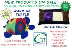 New Products On Sale! Special introductory pricing, save 10% on our new Tactile Pillow, and Warm Me Turtle (new Aztec fabric). For more info, please visit our sale page: http://www.grampasgarden.com/sale.html  #sale #sensory #tactile #warm #cold #therapy