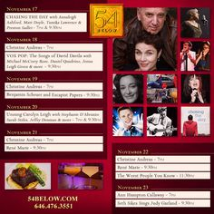 Week of November 17th, 2014 performance schedule. Click to buy tickets.