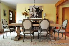 rustic dining chairs and farm table from Town And Country Shuffle Home Goods Wall Decor, Wood Home Decor, Cute Home Decor, Fall Home Decor, Unique Home Decor, Home Decor Items, Home Decor Accessories, Gym Decor, Home Decor Catalogs