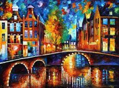 The Bridges Of Amsterdam Artwork By Leonid Afremov Oil Painting & Art Prints On Canvas For Sale Oil Painting On Canvas, Painting Prints, Art Print, Knife Painting, Painting Art, Giclee Print, Canvas Wall Art, Canvas Prints, Surrealism Painting