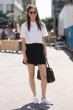 White top, black skirt, Adidas Stan Smith sneakers #2015