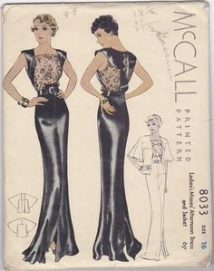McCall 8033, circa 1935 evening gown and kimono cover up