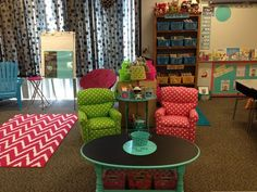 One of my favorite classrooms I've ever seen. If only I had this much space and storage areas!